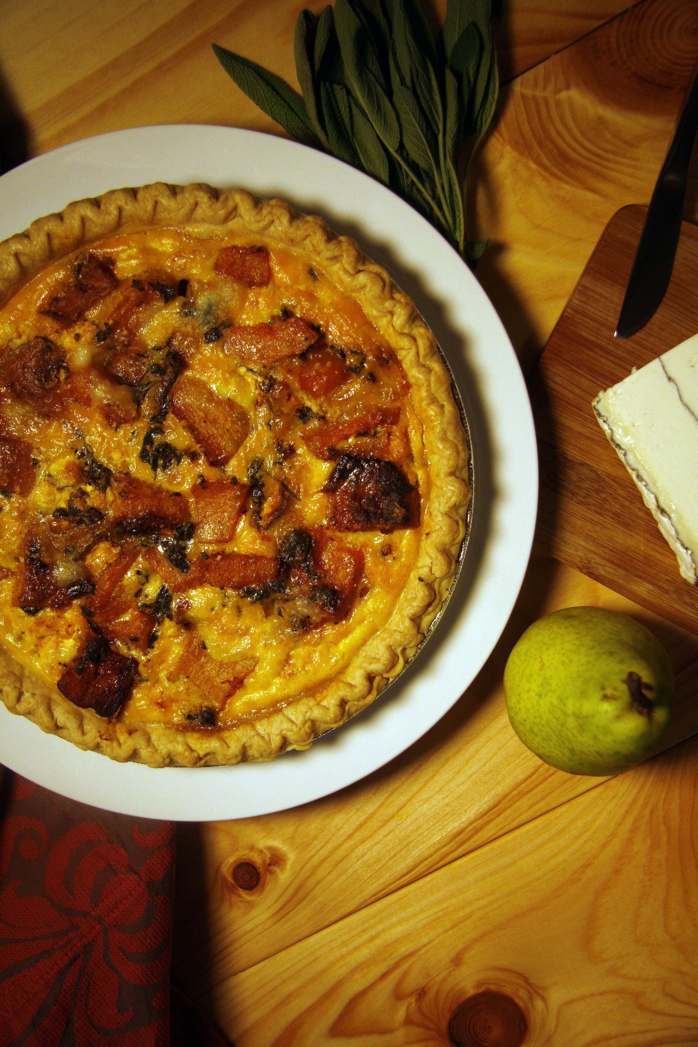 ... Spiced Butternut Squash, Goat Cheese and Fried Sage in Garlic Quiche