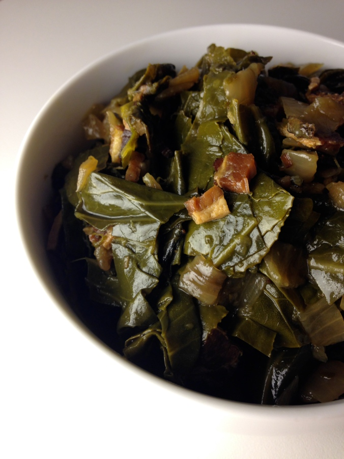 Collard Greens with Bacon in Duck Broth
